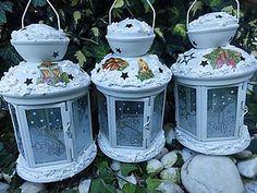 Svietidlá a sviečky - biele lampášiky - 5868904_