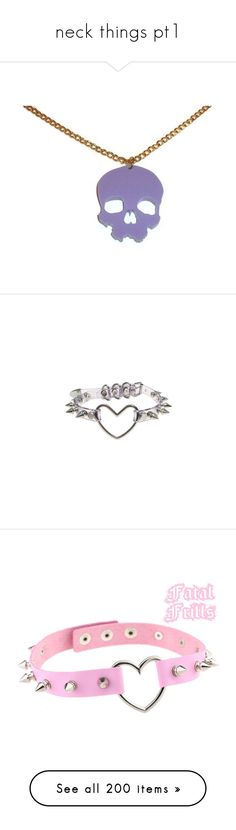 """neck things pt1"" by jojokittypunch ❤ liked on Polyvore featuring jewelry, necklaces, pastel goth necklace, pastel goth jewelry, laser cut necklace, pastel necklace, laser-cut jewelry, accessories, chokers and collars"