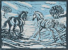 """'Snow fun' by Marie South. This is a reduction lino print in 2 colours and the first print in a limited edition of 10 lino prints. The picture shows our two horses having a gallop through their snowy field after a night in their stable. The printed image size is 8"""" x 6"""". It was printed using Jackson's non toxic water based ink onto Strathmore 8"""" x 10"""" 120 gms printmaking archival paper."""