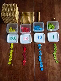 Discovery Days and Montessori Moments: Montessori Stamp Game~ a DIY version Montessori Homeschool, Montessori Elementary, Montessori Classroom, Montessori Toddler, Montessori Activities, Math Classroom, Homeschooling, Montessori Kindergarten, Preschool Lessons