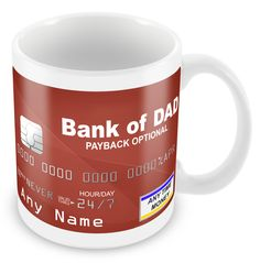Personalised Bank of Dad Funny Humorous Joke Gift Present Mug - Ideal Gift for Christmas, Birthdays, Fathers day by MugandMore on Etsy