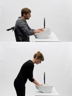 Group 1Tilting Sink - Sink by Gwenole Gasnier. A sink that can adapt to everyone. By tilting and locking into place, the design can be positioned to cater for standing or seated adults or children. #designwithheart