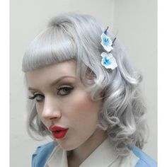 Miss Mosh Modeling Lizzelizzel Hair Pins Pin Up Hair, Hair Pins, Retro Hairstyles, Girl Hairstyles, Silver White Hair, Grey Hair Inspiration, Rockabilly Hair, Rockabilly Ideas, Miss Mosh