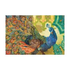 Blue Peacock Bird Teal Paisley Morrocan Background Gallery Wrap Canvas