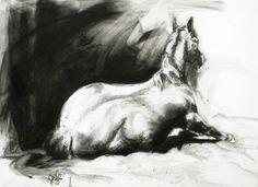 """Saatchi Art Artist Benedicte Gele; Drawing, """"Horse Posture"""" #art"""