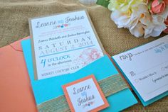 Rustic modern chic Pocket Wedding Invitation by OuttheBoxCreative, $4.65