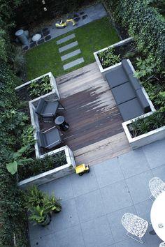 Sitting area with WPC planks, outdoor dining area - Terrasse und Garten - Design Rattan Furniture Back Gardens, Small Gardens, Outdoor Gardens, Veggie Gardens, Roof Gardens, Modern Gardens, Modern Garden Design, Landscape Design, Contemporary Garden