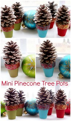 Pinecone Crafts: Mini Pinecone Tree Pots. From petscribbles.blogspot.com.
