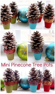 Pinecone Crafts: Mini Pinecone Tree Pots. From petscribbles.blogspot.com.