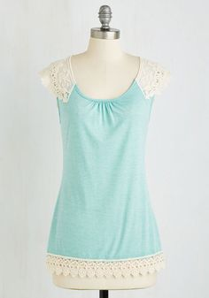 Grace and Lace Top in Mint - Mint, Tan / Cream, Crochet, Casual, Sleeveless, Spring, Variation, Scoop, Green, Sleeveless, Knit, Mid-length, Boho, Festival, Pastel