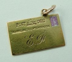 Victorian 18ct Gold & Enamel Postcard Charm - to shop at Sandy's vintage charms !