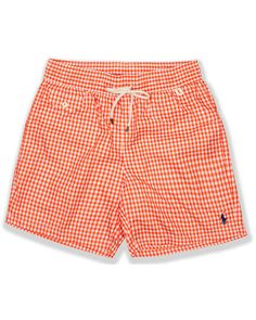 4a624109fa30f POLO RALPH LAUREN Swim Shorts Traveler Orange Gingham Lined Trunks 4X Big  New