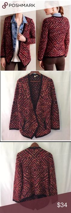 """Anthropologie Moth Keavy Jacquard Red Sweater L Anthropologie Moth Keavy Jacquard Red Cardigan Jacket Sweater  • size large • 32% nylon 25% acrylic 24% wool 15% cotton 2% polyester 1% rayon 1% mohair • No closure • Zippered pockets • 24"""" back length • 32"""" front length (at longest point) • 18"""" sleeve inseam • Good preloved condition, gently worn , light pilling (pictured) Anthropologie Sweaters Cardigans"""