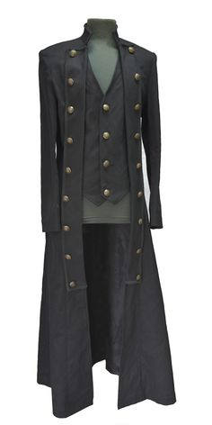 Manteau gilet noir avec laçage à l'arrière