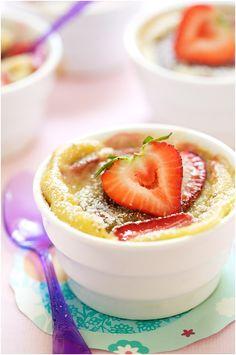 la tartine gourmande - food & drink - food - dessert - clafoutis - orange-flavored strawberry and rhubarb clafoutis