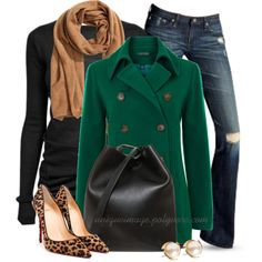 Green Coat & Leopard Heels by uniqueimage on Polyvore featuring Rick Owens, Lauren Ralph Lauren, Christian Louboutin, 3.1 Phillip Lim, Louche, H&M and AG Adriano Goldschmied