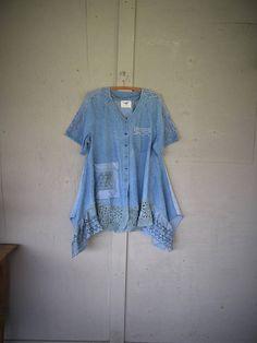 upcycled dress Eco clothing upcycled denim dress L X large