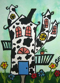 """The Spotted Fun House"" Original Painting Artist Trading Card  Julie Ellison Artist"