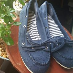 Selling this Navy Blue Boat Shoes in my Poshmark closet! My username is: karlijennifer. #shopmycloset #poshmark #fashion #shopping #style #forsale #Sugar #Shoes