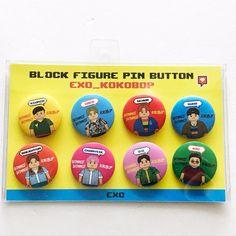 SM Artist Limited Edition SM TOWN POP-UP Store Block Figure Pin Button Set