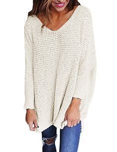 RooZooe Women s Oversized Knitted Sweater V Neck Blouse Loose Jumper  Pullovers White Large Fashion Mode 15b1e2168