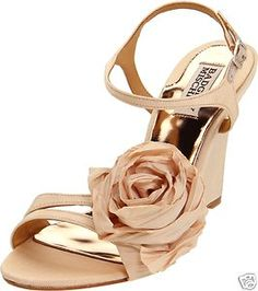 c3547c0c3cad Badgley Mischka Women s Indi Rosette Wedge Sandal- my wedding shoes! Leigh  Gardner
