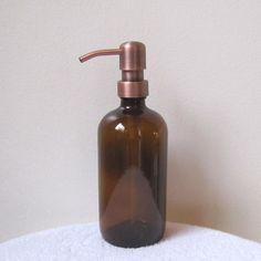 Amazon.com: Amber 16 Ounce Glass Soap Dispenser with Antique Copper Metal Pump: Home & Kitchen