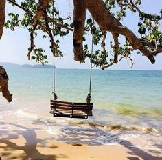 Serenity - swinging on the beach . I Love The Beach, Peaceful Places, Belle Photo, Dream Vacations, Beautiful Beaches, Places To See, Seaside, The Good Place, Perfect Place