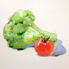 Watercolor Study: Learn How To Paint Appealing Fruits And Vegetables Watercolor Fruit, Fruit Painting, Watercolour Painting, Watercolors, Matte Painting, Watercolor Projects, Watercolour Tutorials, Watercolor Techniques, Painting Tutorials