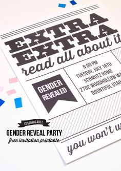 Gender Reveal Party : Newspaper inspired free invitation printable