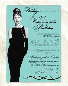 audrey hepburn breakfast at tiffany's invitation Tiffany Birthday Party, 40th Birthday Parties, Birthday Ideas, 40th Birthday Invitations, Birthday Breakfast, Breakfast At Tiffanys, Audrey Hepburn, Card Designs, Sweet 16