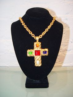 Chanel Gripoix Cross Necklace Mid 1980's