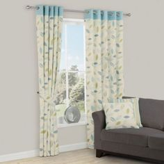 Amena Eyelet Lined Cotton Leaf Print Curtains in Blue, 5397007140606 ; 5397007140613 ; 5397007140620 ; 5397007140590