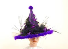Black and Purple Witch Hat  Elegant Witch by englishrosedesignsoh