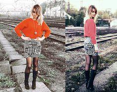 Zara Orange Sweater, Monochromatic Skirt