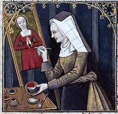 Thamar painting Diana. Boccacio, de mulieribus claris Le livre de femmes nobles et renomées (trad. anonyme), 15-16th century, France (Cognac). Bibliothèque Nationale MS Français 599 fol. 50.