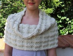 Chunky knit cowl  over sized cowl   cream capelet  by WoolieBits