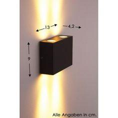 Consommation énergétique pondérée: 4 kWh/1000 heuresConsommation: 4 WattCouleur de la lumière: 3.000 kelvinFlux lumineux: 327 lumenDouille / Ampoule: 1 x LED 4 Watt 3000 kelvin 327 lumen (ampoule incluse)Hauteur: 9 cmLargeur: 11,5 cmProfondeur: 3,5 cmÉclairage vers le haut et vers le bas