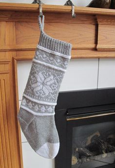 Silvery Gray and White Knit Christmas Stocking