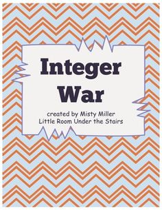 Who has the higher number? Integer War is played just like playing the War Card Game - flip your cards over and see who has the highest number. Students will compare integers while playing this card game. Game includes 120 integer cards colored for easy separation.