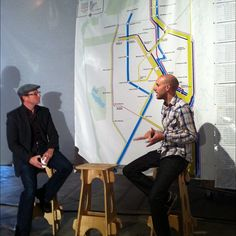 """""""#SPUR and #Stamen discuss corporate shadow private corporate transit in SF. Graphical data art project part of #zbiennial . Fascinating discussion. Great questions from audience. Hope dialog is posted online."""" Photo by corinnetakara"""
