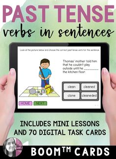 Target regular and irregular past tense verbs with mini lessons and 70 digital task cards using this Boom Card deck! No printing or prepping needed!