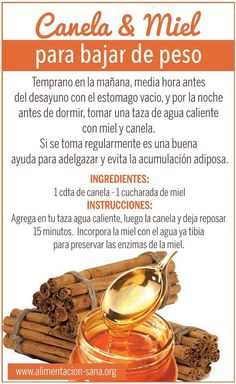 Beneficios de la canela y miel para bajar de peso translation Drink 1 cup every day and night with empty stomach half hour 1 teaspoon of cinnamon 1 tablespoon of honey Detox Drinks, Healthy Drinks, Healthy Tips, Healthy Eating, Healthy Recipes, Healthy Weight, Chocolate Slim, Natural Medicine, Health Remedies