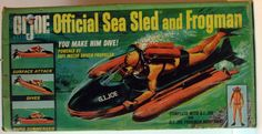 """Box art for the first issue Sea Sled.  This set came with """"G.I. Joe"""" stencilled on the left front nose section.  Also came with the orange SCUBA suit with black zipper."""