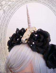 Unicorn skull/black rose headband. Amazing