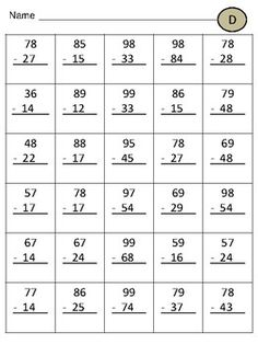 5 worksheets of double digit subtraction without regrouping. SIMILAR PRODUCTS:Double Digit Subtraction WITH RegroupingDouble Digit Addition WITH RegroupingTriple Digit Addition WITHOUT Addition and Subtaction Practice Worksheets . Subtraction With Regrouping Worksheets, Math Addition Worksheets, Math Practice Worksheets, First Grade Math Worksheets, Social Studies Worksheets, Multiplication Worksheets, Math Sheets, Math For Kids, Teaching Math
