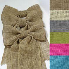 Set of 6 Burlap Bows Wedding Pew Bows Home by CottonRidgeEmporium