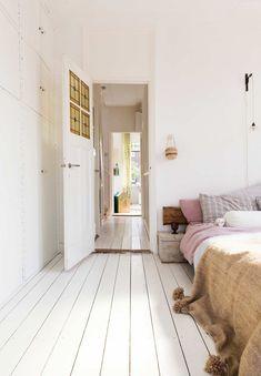Bedroom with white wooden floor Bedroom Wooden Floor, White Wooden Floor, Closet Bedroom, Home Bedroom, Bedroom Decor, Bedrooms, Painted Wooden Floors, Wooden Flooring, Interior Exterior