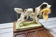 English Setter Wooden Desk Organizer by momentofnostalgia on Etsy Wooden Desk Organizer, English Setters, Vintage Dog, Hunting Dogs, Desk Organization, Pointers, Fur Babies, Sculpture, Antiques