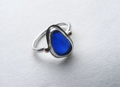 Bristol Blue sea glass tear drop silver and gold Franki ring Size M